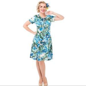 Lindy Bop blue Hawaiian dress